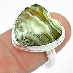 13.50cts solitaire mexican laguna lace agate 925 silver ring size 8.5 t54153
