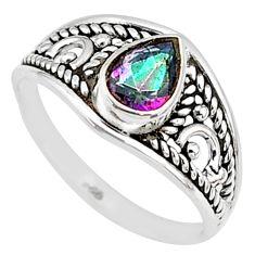 1.46cts multi color rainbow topaz silver graduation handmade ring size 6 t9255