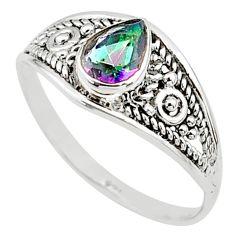 1.32cts multi color rainbow topaz silver graduation handmade ring size 6 t9470