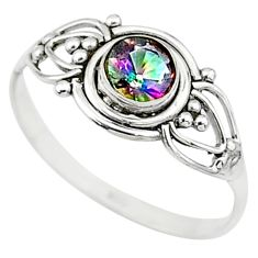 0.74cts multi color rainbow topaz silver graduation handmade ring size 6 t9638