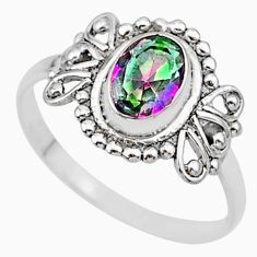 1.57cts solitaire multi color rainbow topaz 925 silver ring size 7 r87257