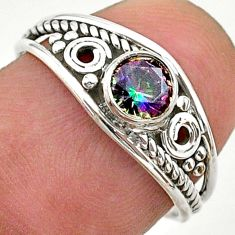 0.81cts solitaire multi color rainbow topaz 925 silver ring size 7 t40101