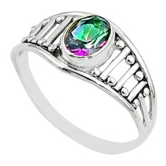 1.58cts solitaire multi color rainbow topaz 925 silver ring size 7 t51928