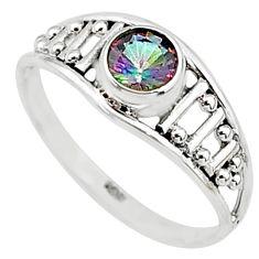 0.74cts multi color rainbow topaz silver graduation handmade ring size 7 t9408