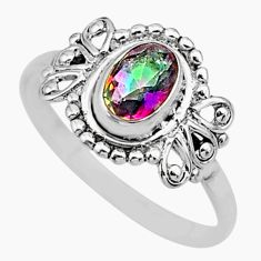 1.61cts solitaire multi color rainbow topaz 925 silver ring size 8 r87277