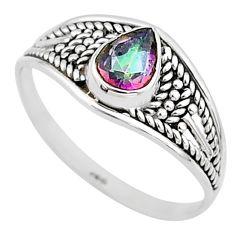 1.58cts multi color rainbow topaz silver graduation handmade ring size 8 t9568