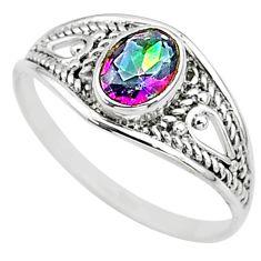 1.56cts multi color rainbow topaz silver graduation handmade ring size 8 t9657