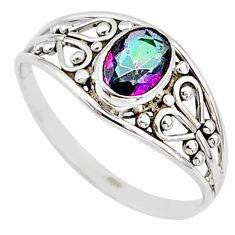 1.41cts multi color rainbow topaz silver graduation handmade ring size 9 t9534