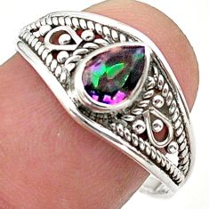 1.57cts solitaire multi color rainbow topaz 925 silver ring size 8.5 t40085