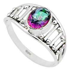 1.41cts multi color rainbow topaz graduation handmade ring size 5.5 t9434