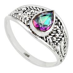 1.43cts multi color rainbow topaz graduation handmade ring size 5.5 t9547