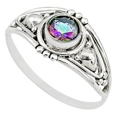 0.82cts multi color rainbow topaz graduation handmade ring size 8.5 t9712