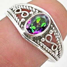 1.57cts solitaire multi color rainbow topaz oval 925 silver ring size 8 t40159