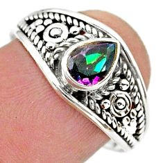 1.35cts solitaire multi color rainbow topaz pear 925 silver ring size 9 t39996