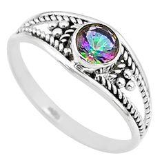 0.74cts multi color rainbow topaz round graduation handmade ring size 7 t9319