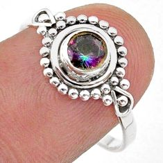 0.80cts solitaire multi color rainbow topaz round 925 silver ring size 8 t40027