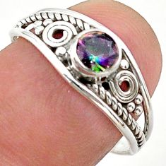 0.81cts solitaire multi color rainbow topaz round 925 silver ring size 8 t40118