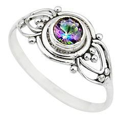 0.74cts multi color rainbow topaz round graduation handmade ring size 8 t9637