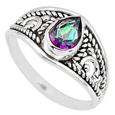 1.41cts multi color rainbow topaz silver graduation handmade ring size 6 t9254