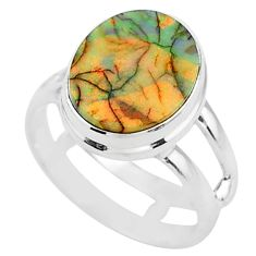 4.08cts solitaire multi color sterling opal 925 silver ring size 6 t13557