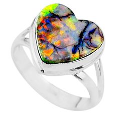 3.66cts solitaire multi color sterling opal 925 silver ring size 6 t13607