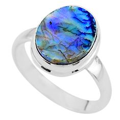 3.64cts solitaire multi color sterling opal 925 silver ring size 7 t13556