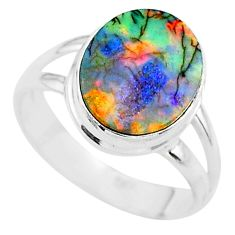 3.06cts solitaire multi color sterling opal 925 silver ring size 7 t13573