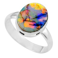 3.52cts solitaire multi color sterling opal 925 silver ring size 8 t13576