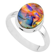3.21cts solitaire multi color sterling opal 925 silver ring size 9 t13543
