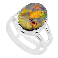 3.71cts solitaire multi color sterling opal 925 silver ring size 6.5 t13551
