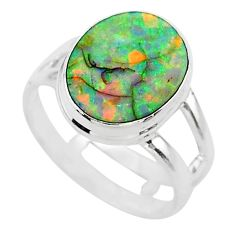 3.71cts solitaire multi color sterling opal 925 silver ring size 6.5 t13562