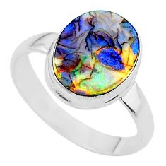 3.51cts solitaire multi color sterling opal 925 silver ring size 8.5 t13566