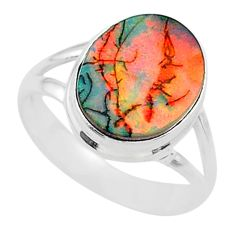 3.29cts solitaire multi color sterling opal 925 silver ring size 6.5 t13571