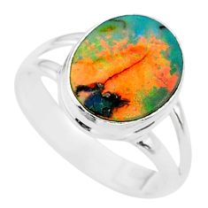 3.32cts solitaire multi color sterling opal 925 silver ring size 7.5 t13578