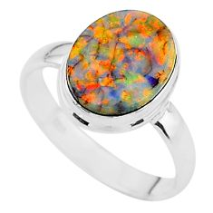 3.73cts solitaire multi color sterling opal 925 silver ring size 8.5 t13590
