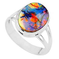 3.29cts solitaire multi color sterling opal 925 silver ring size 6.5 t13595
