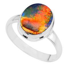 3.45cts solitaire multi color sterling opal 925 silver ring size 8.5 t13596