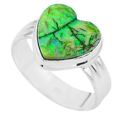 3.93cts solitaire multi color sterling opal 925 silver ring size 9.5 t13616