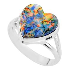 3.66cts solitaire multi color sterling opal heart 925 silver ring size 8 t13600