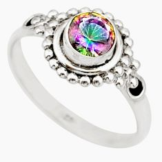 0.99cts solitaire multicolor rainbow topaz 925 silver ring size 8 r87302