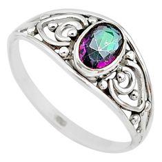 1.45cts multicolor rainbow topaz silver graduation handmade ring size 8.5 t9365