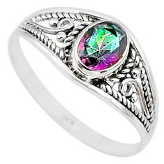 1.41cts multicolor rainbow topaz silver graduation handmade ring size 6 t9285