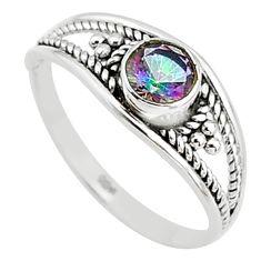 0.74cts multicolor rainbow topaz silver graduation handmade ring size 6 t9337
