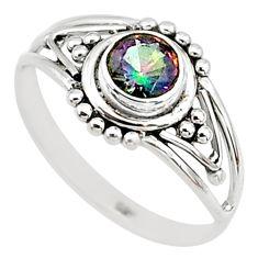 0.74cts multicolor rainbow topaz silver graduation handmade ring size 7 t9366