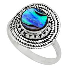 3.10cts solitaire natural abalone paua seashell 925 silver ring size 7.5 r49503