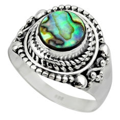 2.68cts solitaire natural abalone paua seashell 925 silver ring size 8.5 r49510