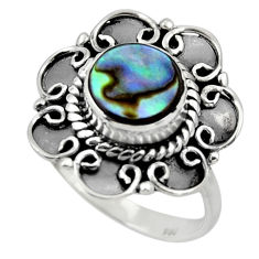 3.08cts solitaire natural abalone paua seashell 925 silver ring size 7.5 r49512