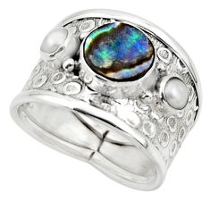 4.21cts solitaire natural abalone paua seashell 925 silver ring size 7.5 r49886