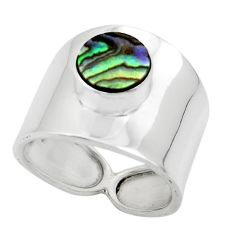 2.51cts solitaire natural abalone paua seashell 925 silver ring size 6.5 r49890
