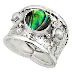 4.02cts solitaire natural abalone paua seashell 925 silver ring size 6.5 r49891